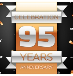 Ninety five years anniversary celebration golden vector image
