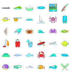 Ocean water icons set cartoon style vector