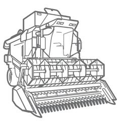 outline combine-harvester vector image vector image