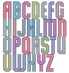 Retro stripe geometric font retro style typeface vector image