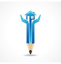 Save home concept with pencil hands vector image