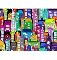 Seamless colorful cityscape vector image