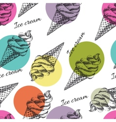 Seamless pattern with ice cream hand drawn vector