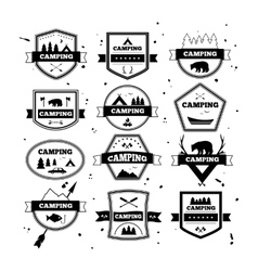 Set of vintage camping and outdoor activity logos vector