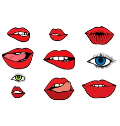 Set with lips and eyes vector