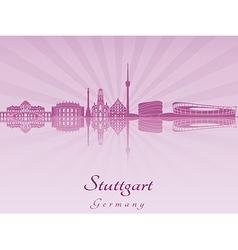 Stuttgart skyline in purple radiant orchid vector