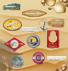 Summer Design Elements on sand background vector image