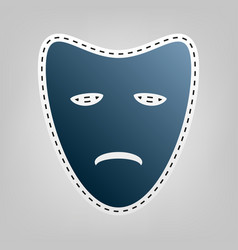 Tragedy theatrical masks blue icon with vector