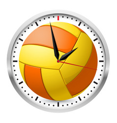 Wall clock volleyball style on white background vector