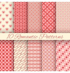 10 Romantic seamless patterns tiling vector image vector image