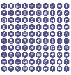 100 electricity icons hexagon purple vector