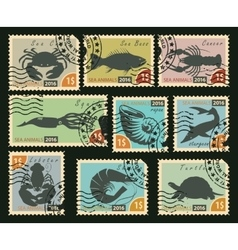 Stamps with sea animals vector