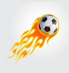 flaming soccer ball vector image