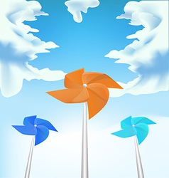 Windmills on sky background vector