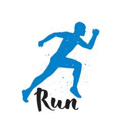 running runner man marathon logo jogging emblems vector image