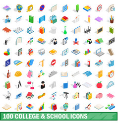 100 college and school icons set vector image