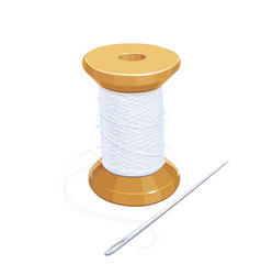 White thread reel with needle vector