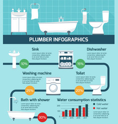 plumber works infographic poster vector image
