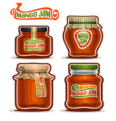 mango jam in glass jars vector image