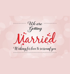 wedding card with romantic theme vector image