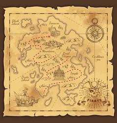 Pirate treasure map hand drawn vector