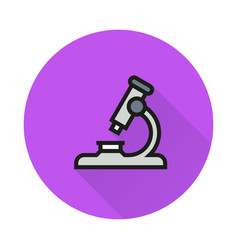 Microscope icon on round background vector