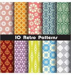 Retro pattern unit collection 1 vector