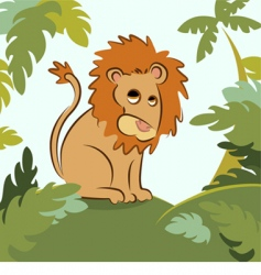 Lion in jungle vector