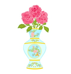 Vase decorated with a floral pattern with roses vector