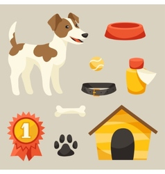 Set of icons and objects with cute dog vector