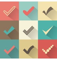 Set of different retro check marks or ticks vector