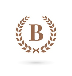 Letter b laurel wreath logo icon vector