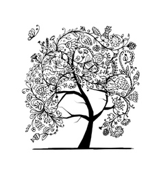 Floral tree black silhouette for your design vector