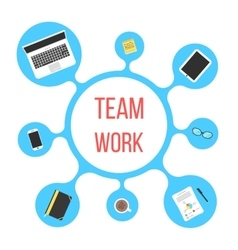 Concept of team work with blue bubble vector