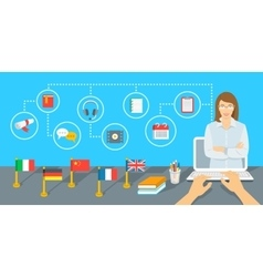 Online internet language courses flat vector