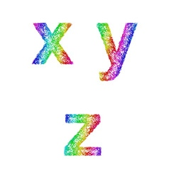 Rainbow sketch font set - lowercase letters x y z vector