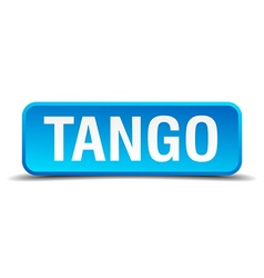 Tango blue 3d realistic square isolated button vector