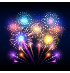 Festive background poster with firework vector