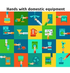 Set of hands with domestic equipment vector