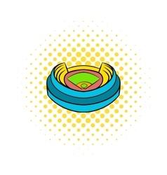 Baseball stadium icon comics style vector