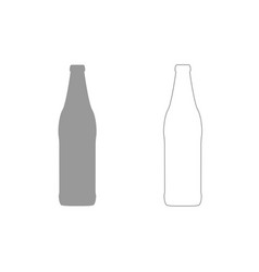 beer bottle grey set icon vector image