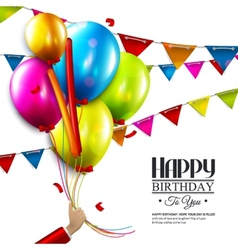 Birthday card with balloons confetti and tag for vector