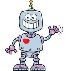 Cartoon smiling robot vector