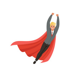 Cheerful business man with classic superhero vector