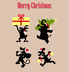 christmas animal silhouettes vector image
