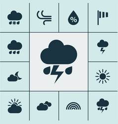 Climate icons set collection of colors wet vector