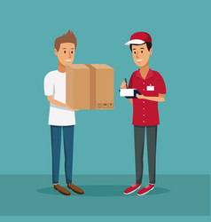 color background with men worker with packages and vector image vector image