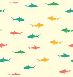 colorful pattern with sharks vector image vector image