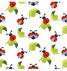 Cute cartoon ladybug on green leaves seamless vector