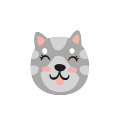 cute smiling grey cat head funny cartoon animal vector image